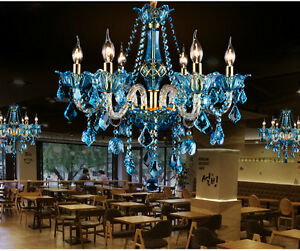 blue bell crystal Chandelier hanging Lamp Dining room Restaurant Bar cafe light