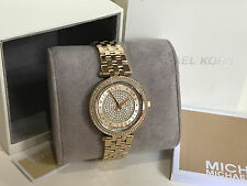 NEW! MICHAEL KORS MK MINI DARCI CRYSTAL PAVE GOLD-TONE WATCH MK3445 $275 SALE