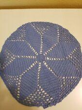 Vintage Crochet Blue Doily 10.5 inch Round