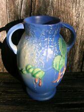 Vintage Roseville Art Pottery 892-6 Fuchsia Blue Flower Vase