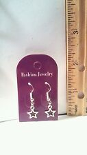 Silver Plated Hollow Star - Handmade Dangle Earrings - Free Shipping