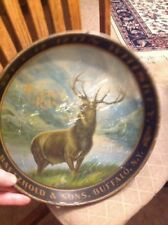 ADVERTISING TRAY DEER RUN WHISKY AUG. BAETZHOLD & SON BUFFALO NY PRE PROHIBITION