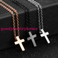 Small Stainless Steel Simple Plain Cross Pendant Necklace Men's Women's Jewelry