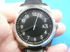 New Old Stock ARMANI EXCHANGE Black Face Leather Strap Quartz Men Watch