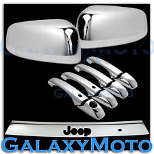 Chrome TOP HALF Mirror+4 Door Handle+LiftGate Cover for 11-14 JEEP GRAND CHEROKE