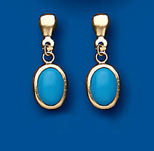 Unique Wishlist 9ct Yellow Gold Small Turquoise Oval Drops AP6955