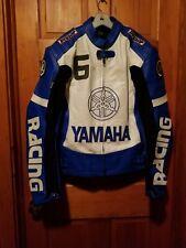 Men Yamaha Motorcycle Racing Leather Jacket In Blue and White medium