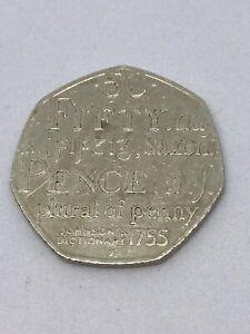 Rare Samuel Johnson's Dictionary 50p coin 2005 circulated