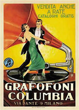 """GRAFOFONI COLUMBIA VINTAGE GRAMOPHONE MUSIC PLAYER AD POSTER-LARGE 24"""" X 36""""-NEW"""