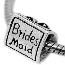 Bridesmaid 3 Sided Charm w/ Dress , Wedding Bells Charm Bead for Most European S
