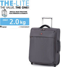 IT Luggage Cabin Size Ultra Lightweight 2 Wheel Airline Suitcase Bag Grey