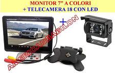 "KIT 12V RETROMARCIA MONITOR 7"" POLLICI + TELECAMERA 18 LED CAMPER CAMION DS"