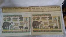 2 French Imageries D'Epinal Pellerin Print no. 1202 Wild Animal and Fence Kit