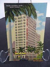 Vintage Miami Colonial Hotel Linen Postcard Florida