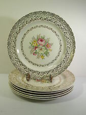 "SET/6 FRENCH SAXON CHINA CO. DINNER PLATES - ""OLD LACE"" PATTERN 22KT GOLD DECOR"