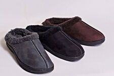 New Mens Stitched Faux Suede, Fleece Lined Clog House Slippers, Casual Shoe Clog