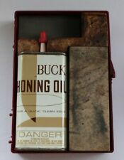 Vintage Buck Knives Honing Oil and Sharpening Stones Kit Oil basically empty