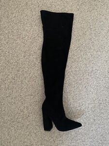 Missguided Faux Suede Over The Knee Boot Black With Pointed Toe Uk 6