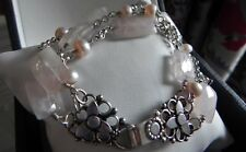 Luscious! 30g sterling silver 925 stamped rose quartz pearl gemstone bracelet