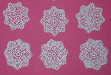 12 WHITE Edible SUGAR LACE cupcake / cake topper decoration Handmade