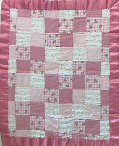 Vtg Sweet Hand Stitched Baby Cradle Quilt Rosebud Chenille Flannel Satin Edge