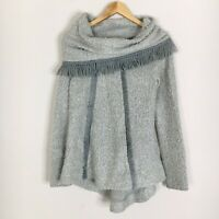 Anthropologie Angel Of The North Womens Size Small Gray Fringe Cowl Neck Sweater