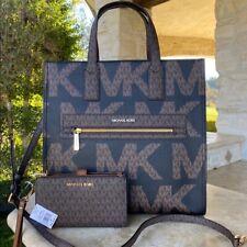 Michael Kors Signature Kenly Large Graphic Logo Tote Bag Black Brown