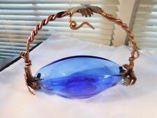 Cobalt Blue Elegant Glass Serving Dish w Grapevine Handle