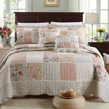 Cotton Checked Patchwork Queen King Size Quilted Bedspreads Set Bed Coverlet New