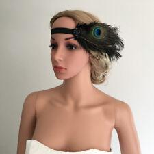 Années 1920 noir plume de paon à clapet noir fleur de cristal Gatsby Bal Bandeau