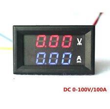 DC 100V 50A Voltmeter Ammeter Blue+Red LED Amp Dual Digital Volt Meter Gauge New
