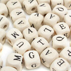 200pcs Natural Mixed Wooden Alphabet Letter Cube Craft Charms Beads 10 mm