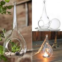 6x Candle Holder Glass Drop Shape Tea Light Holders Garden Hang Home Candlestick