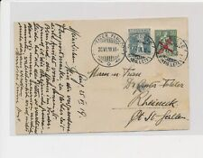 LM74452 Switzerland 1919 airmail postcard with nice cancels used