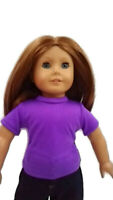 Purple T-Shirt fits American Girl Dolls 18 inch Doll Clothes Short Sleeve