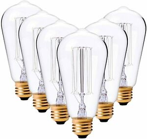 LDUSA Home ST64 Vintage Edison Style Light Bulbs Squirrel Cage 60W 6 Pack (NEW)