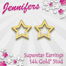Gold Star Earrings Stud 14ct Superstar Pentagram Small Studs Earring Jewellery