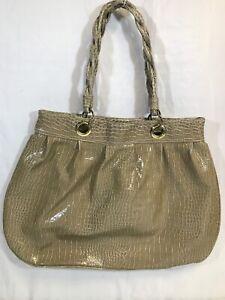 Jessica Simpson Women's Large Shiny Faux Alligator Tan Handbag Zippered Close