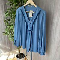 *BNWT* TU Blue Peasant Inspired SIZE 14 UK Long Sleeve V-Neck Top