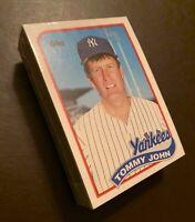 50) TOMMY JOHN New York Yankees 1989 Topps Baseball Card LOT