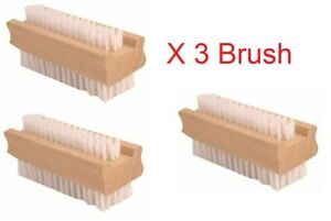 3X Wooden Nail Brush Scrubbing Finger Toe Washing Double Sided Bristles Natural