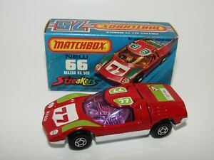 Matchbox Superfast No 66 Mazda RX500 VERY Rare PURPLE GLASS & Rare Box VNMIB