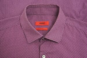 Men Hugo Boss Formal Shirt Slim Fit Cotton Purple 39 15,5 MJA630