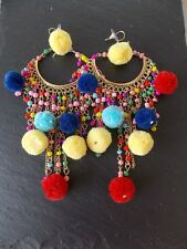 Over-Sized Multi-Coloured Pom Pom Boho Festival Statement Earrings-UK SELLER