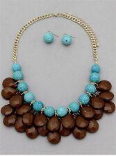 Turquoise Brown Faceted Lucite Drops Gold Tone Link Bubble Bauble Necklace Set