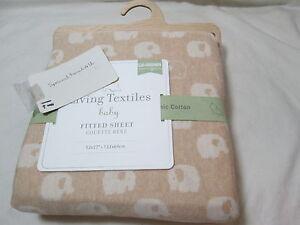 Living Textiles Baby JAXSON ELEPHANT Organics Jersey Fitted Sheet ~ Beige/Ivory