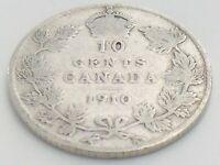 1910 Canada Ten 10 Cent Dime Silver Canadian Circulated Edward VII Coin K106