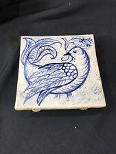 Blue White Dove Salt Glazed Handmade Studio Pottery Square Tile Trivet Hot Plate