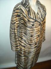 VTG 50s 60s 70s Womens Large Disco Tiger Print Faux Fur Jacket Coat