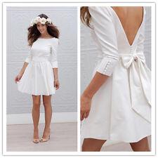 Half Sleeve Backless Bridal Gowns Short Satin Bow Beach Cheap Wedding Dresses